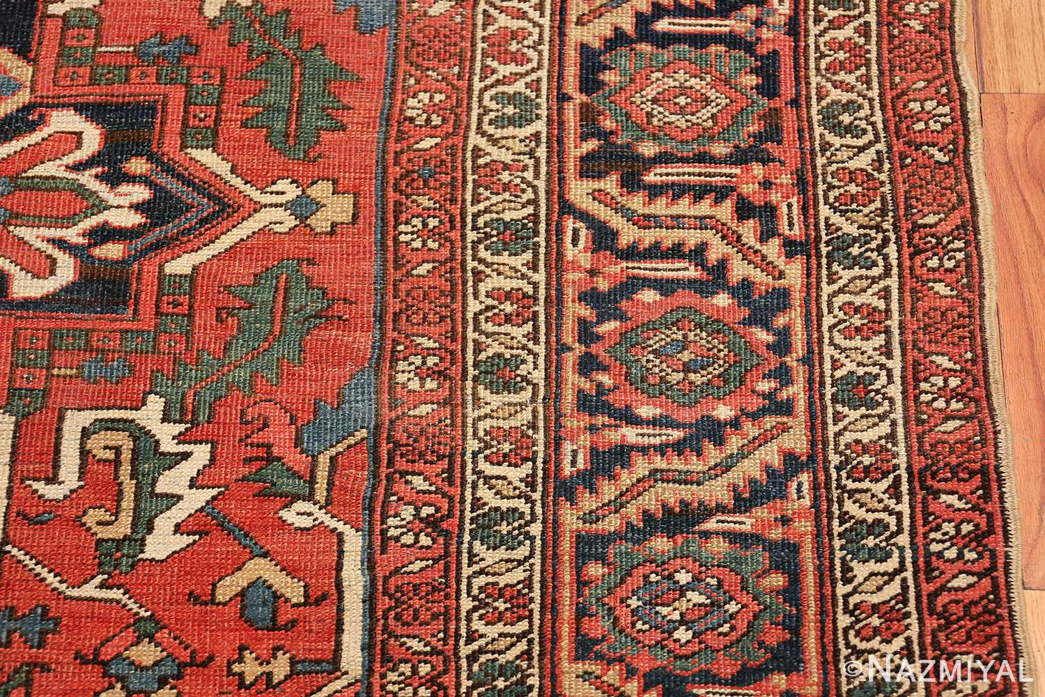 antique room size persian heriz rug 49479 border Nazmiyal