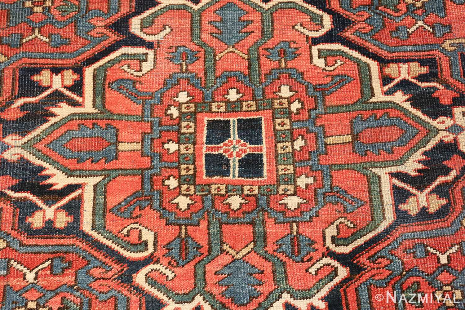 antique room size persian heriz rug 49479 center Nazmiyal
