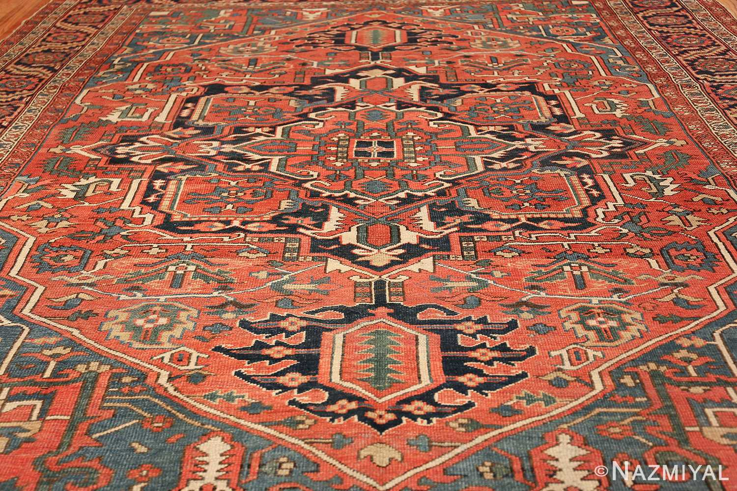 antique room size persian heriz rug 49479 field Nazmiyal