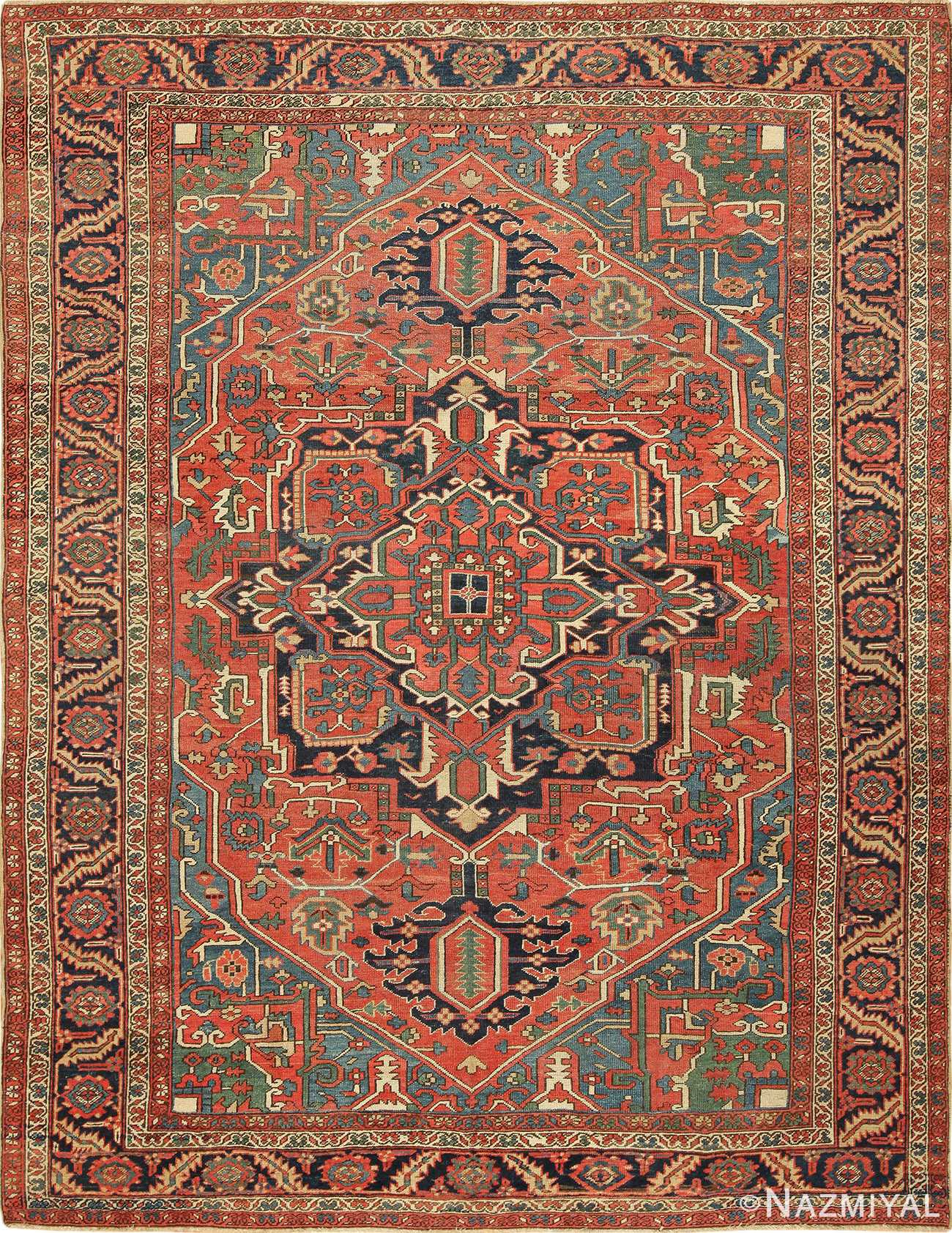 Antique Persian Room Size Heriz Rug 49479 by Nazmiyal