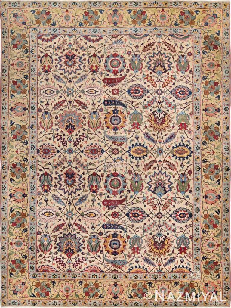 Antique Sickle Leaf Design Persian Benlian Tabriz Rug 49723 - Nazmiyal