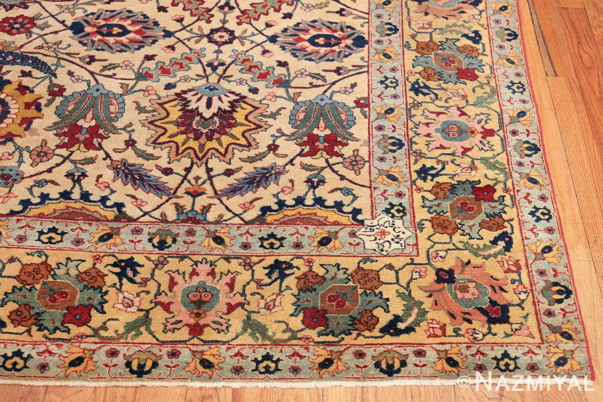 antique sickle leaf design persian tabriz rug 49723 corner Nazmiyal