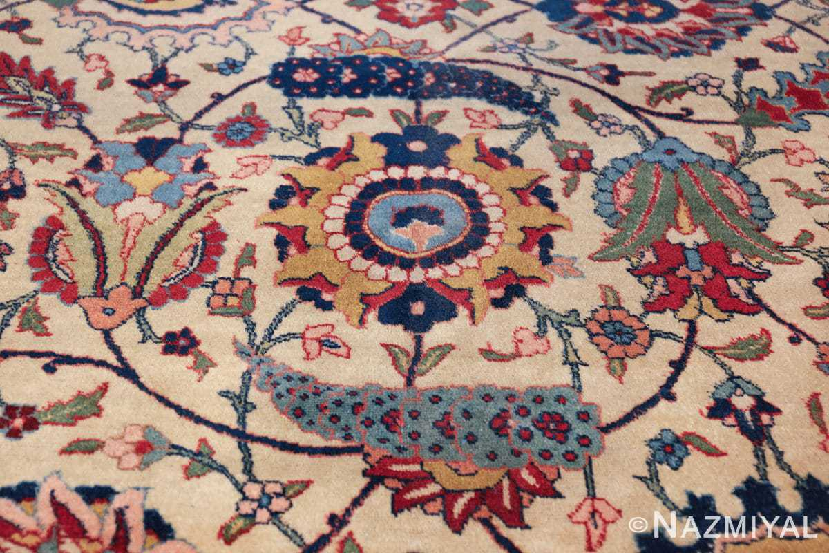 antique sickle leaf design persian tabriz rug 49723 round Nazmiyal