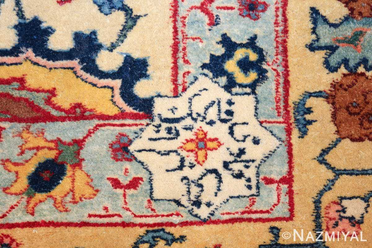antique sickle leaf design persian tabriz rug 49723 signature Nazmiyal