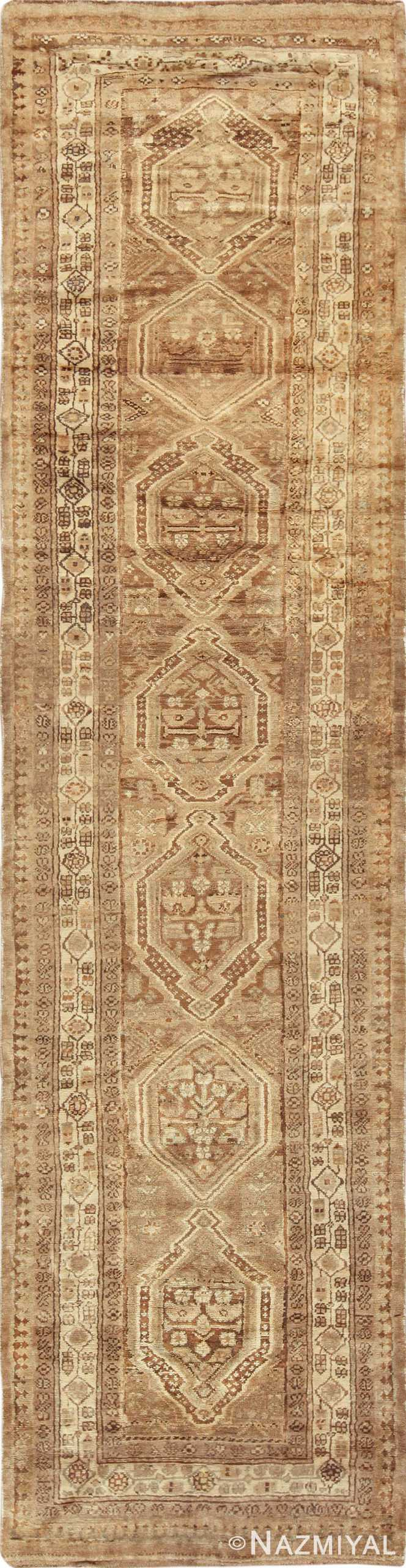 Neutral Earth Tone Vintage Persian Malayer Runner Rug 49713 by Nazmiyal
