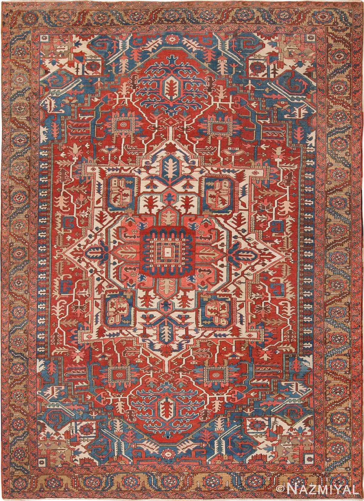 Room Size Antique Persian Heriz Rug 49478 Nazmiyal