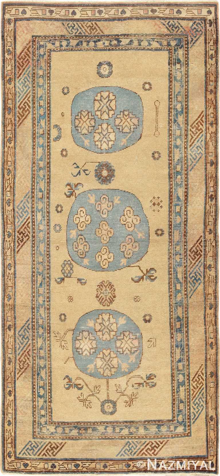 Small Antique Tan and Baby Blue Khotan Rug - Nazmiyal