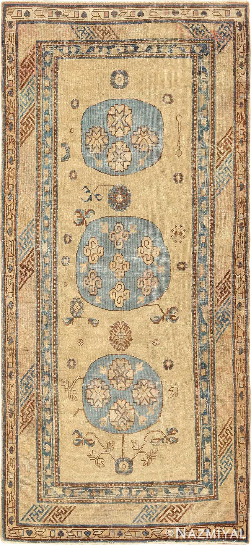 Small Antique Tan and Baby Blue Khotan Rug - Nazmiyal