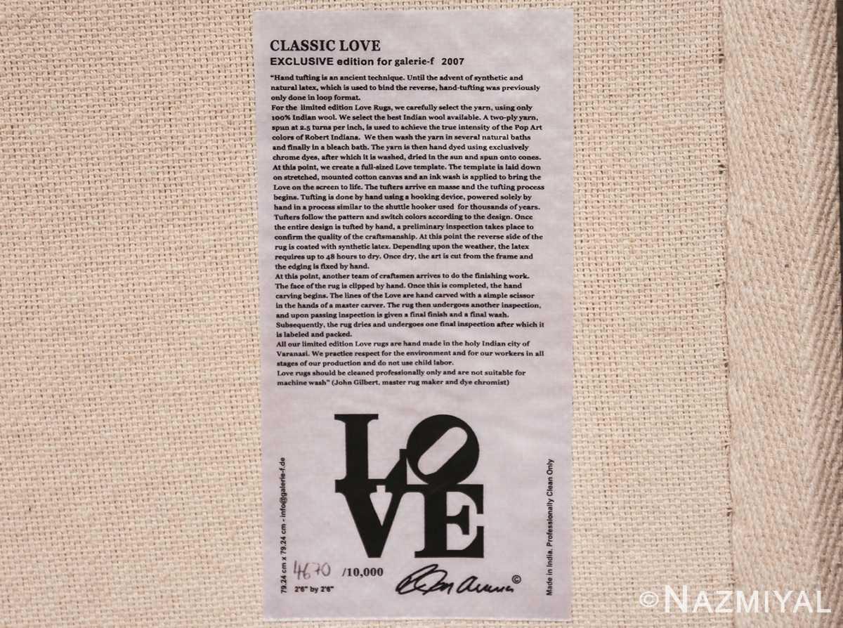 small size modern love rug by robert indiana 49739 tag Nazmiyal