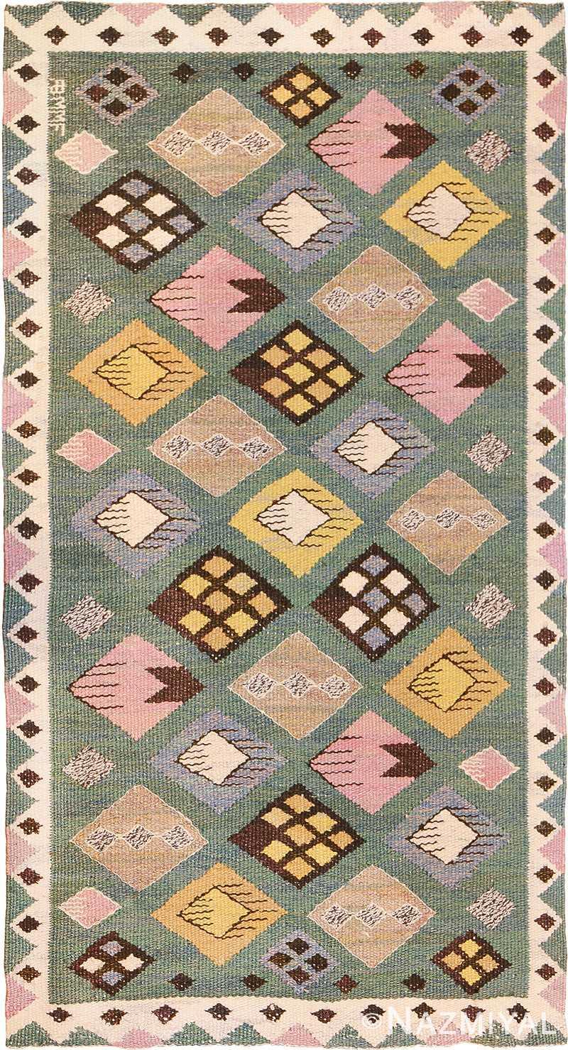 Vintage Scandinavian Swedish Marta Mass Fjetterstrom Knoppen Kilim 49749 - Namziyal