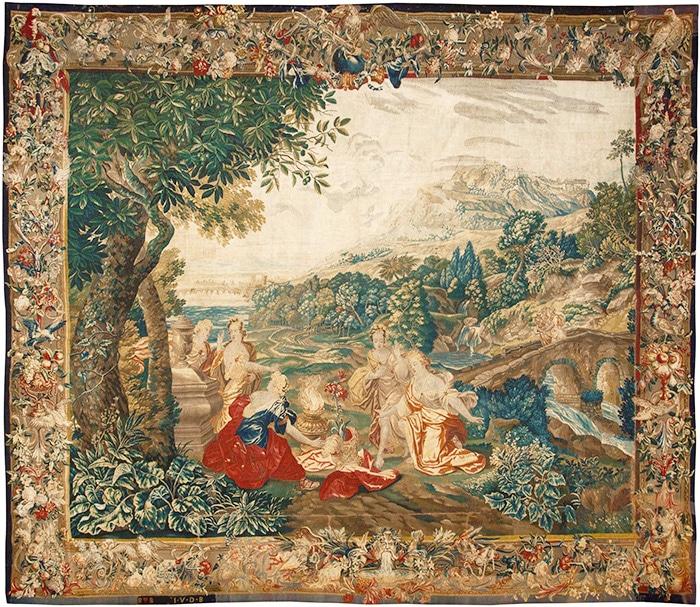 17th Century Scenic Flemish Tapestry Rug 45666 - Nazmiyal