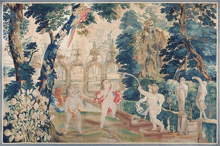 18th Century Flemish Tapestry Pastoral Cupids 47384 - Nazmiyal