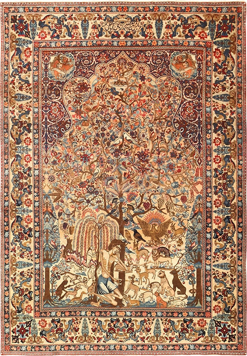19th Century Laila And Majnun Persian Rug by Kermani - Nazmiyal
