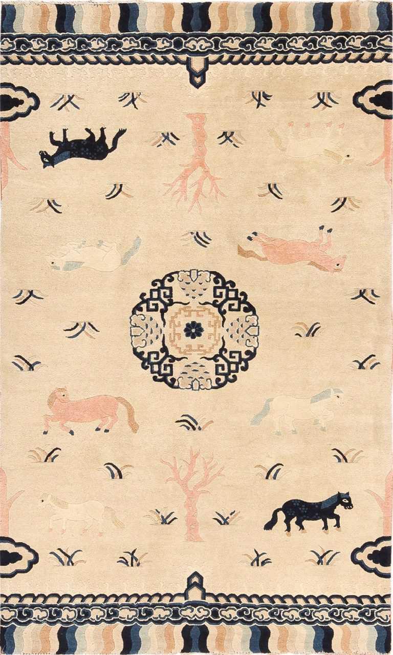 Animal Motif Antique Chinese Pillar Rug 49797 Nazmiyal