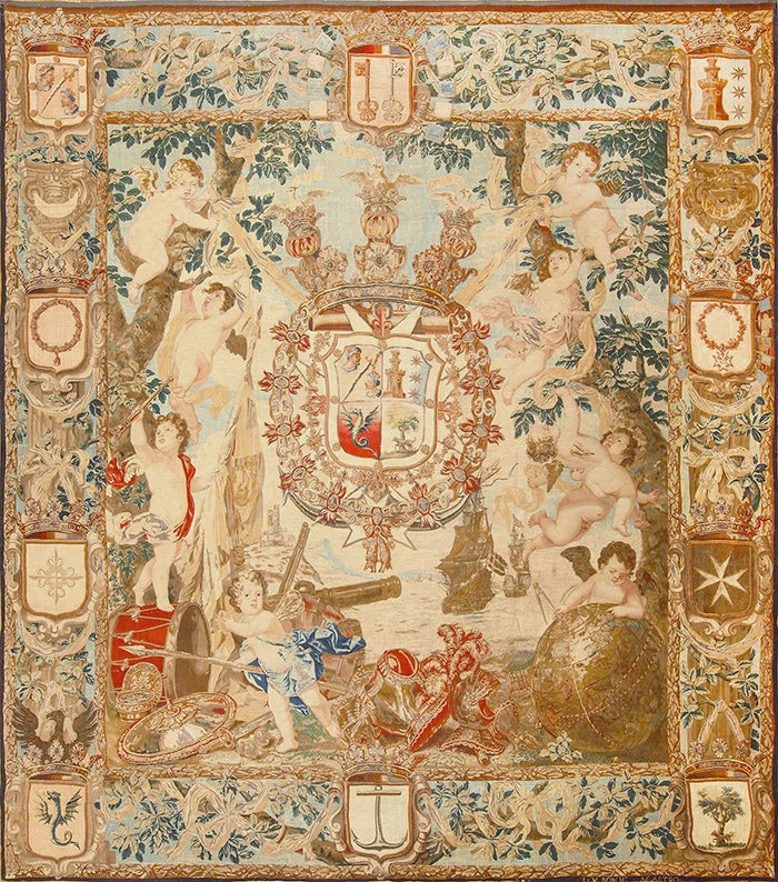 Antique Flemish Heraldic Tapestry of A Spanish Noble Admiral With Coat Of Arms 2399 - Nazmiyal