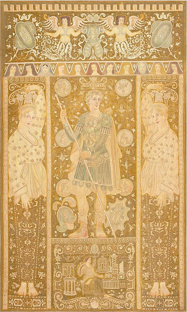 Antique Historical Italian Tapestry Caesar Augustus Roman Emperor Octavian 47325 - nazmiyal