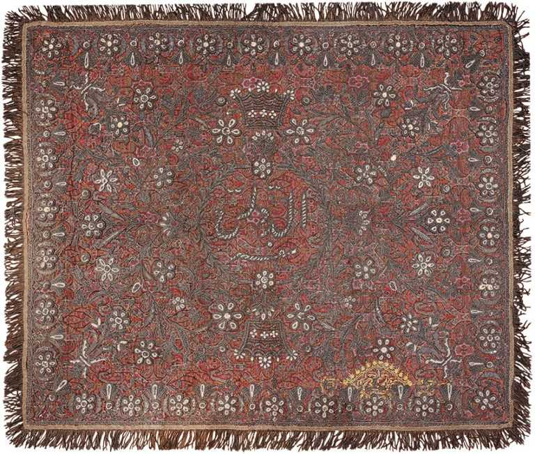 Pearl and Silver Antique Persian Kerman Embroidery 49779 - Nazmiyal