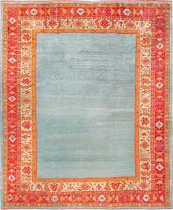 Light Blue Open Field Antique Turkish Angora Oushak Rug 49688 - Nazmiyal