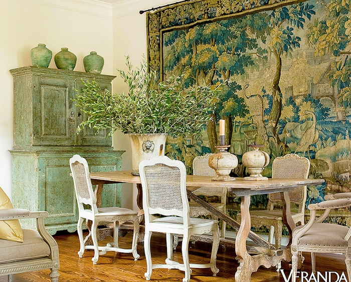 Dining room interior design with an antique Flemish Tapestry - Nazmiyal
