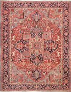 Room Size Geometric Antique Persian Heriz Rug 49475 - Nazmiyal