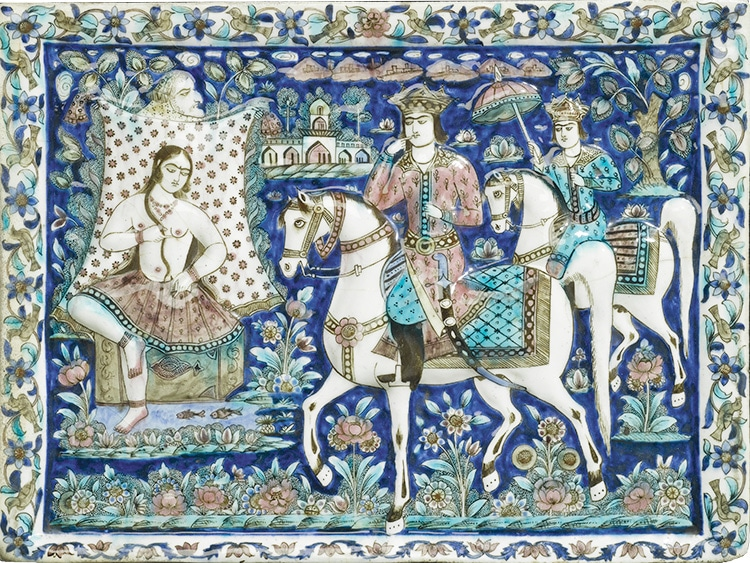 Large 19th Century Persian Pictorial Tile Showing When Khosrow Sees Shirin Bathing - nazmiyal
