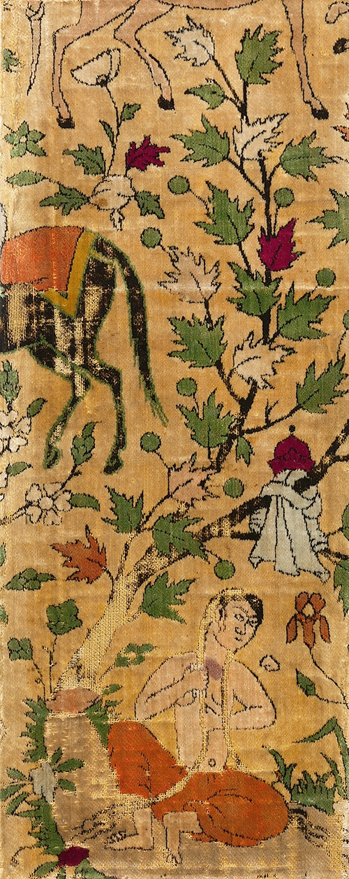 16th Century Iranian Velvet Textile Fragment of Nizamis Khosrow and Shirin - Nazmiyal