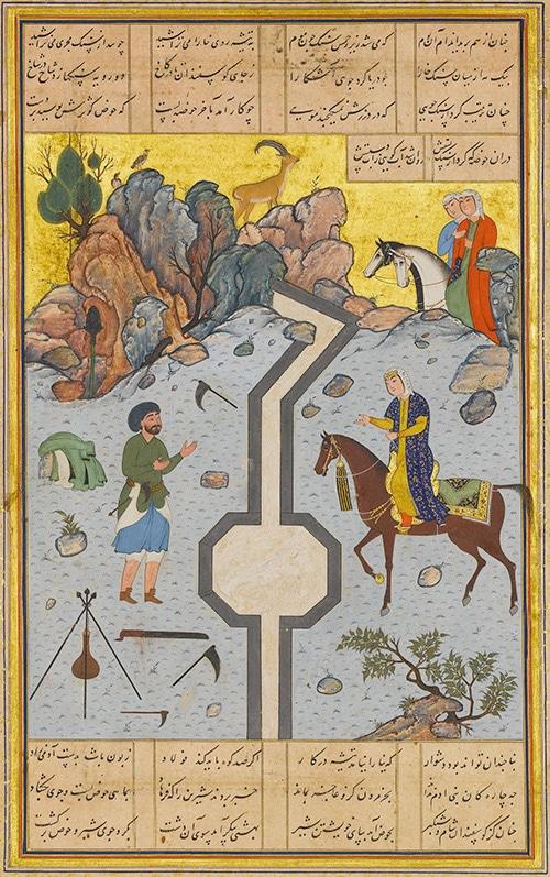 16th Century Painting by Shaikh Zada: Farhad Carves Milk Channel for Shirin - Nazmiyal