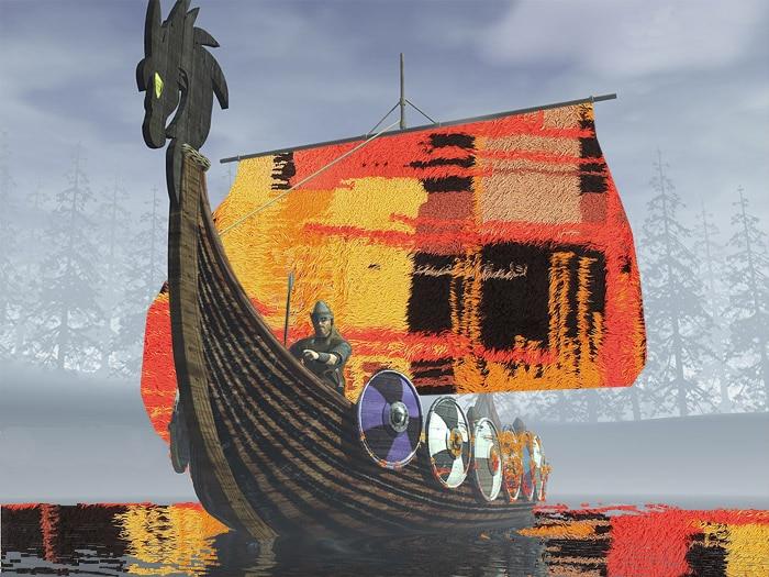 Vintage Swedish Rya Rugs and Scandinavian Carpet Viking Ship - Nazmiyal