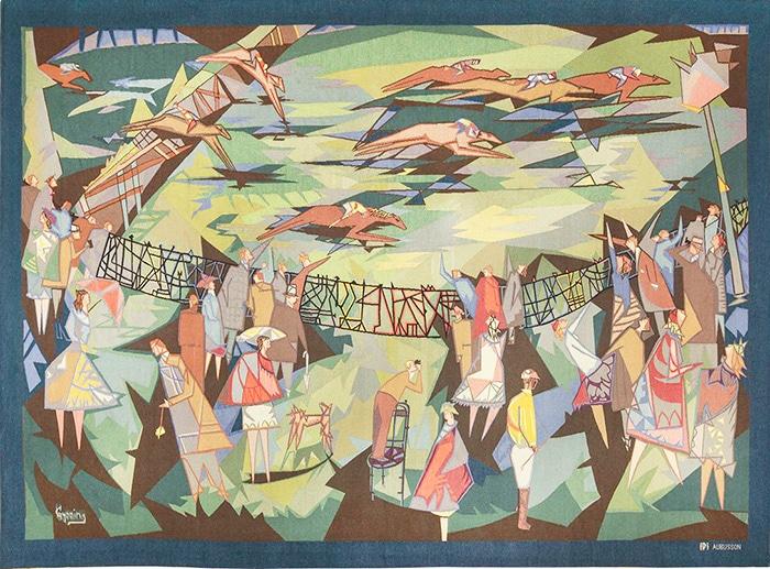 Vintage Pinton Freres Gynning French Racing Design Tapestry 49574 Nazmiyal