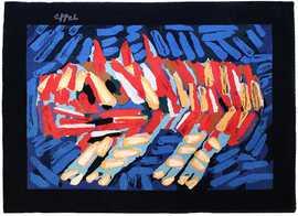 vintage scandinavian clown cat rug by karel appel 49774 Nazmiyal 1