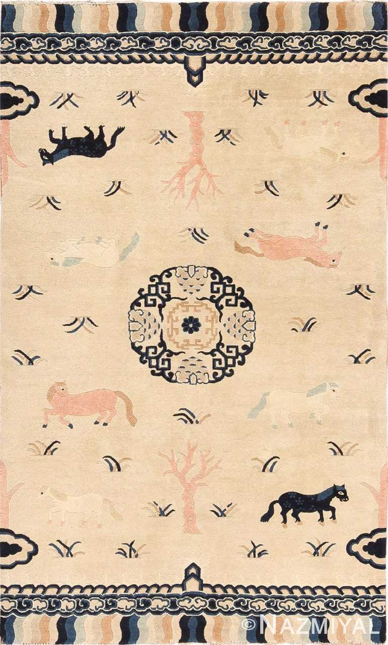 Animal Motif Antique Chinese Pillar Rug 49797 Nazmiyal