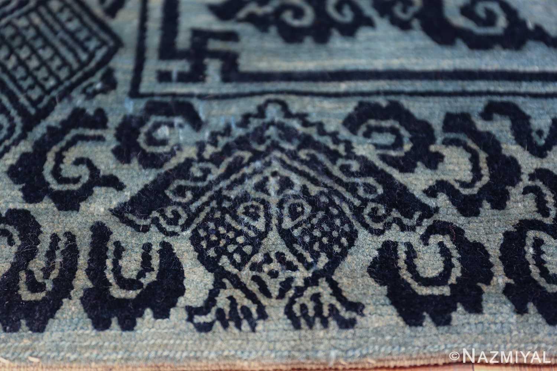 Antique Blue Background Tibetan Rug 49795 boar on border Nazmiyal