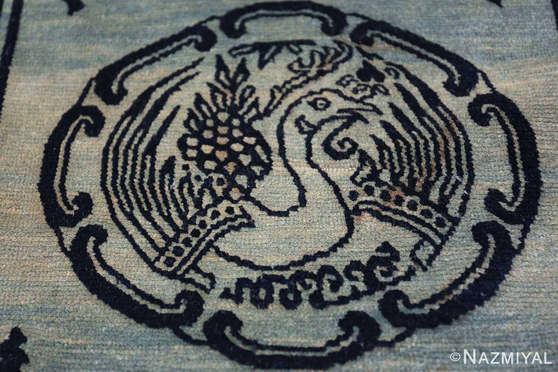 Antique Blue Background Tibetan Rug 49795 central medallion Nazmiyal