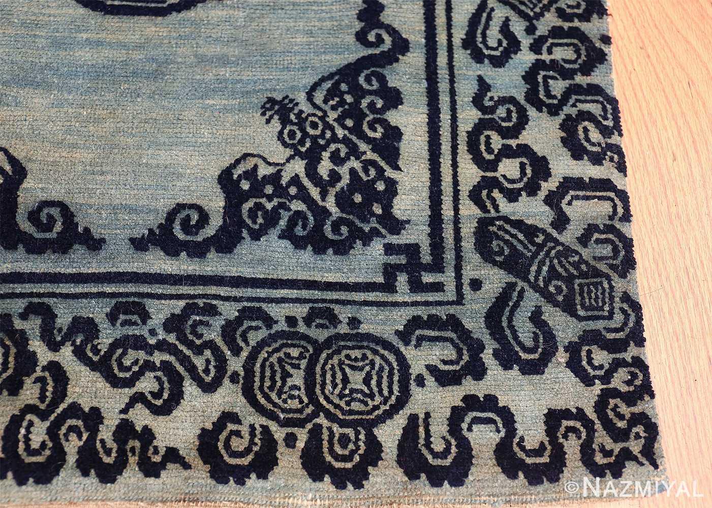 Antique Blue Background Tibetan Rug 49795 corner design Nazmiyal