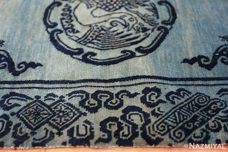 Antique Blue Background Tibetan Rug 49795 detailed design Nazmiyal