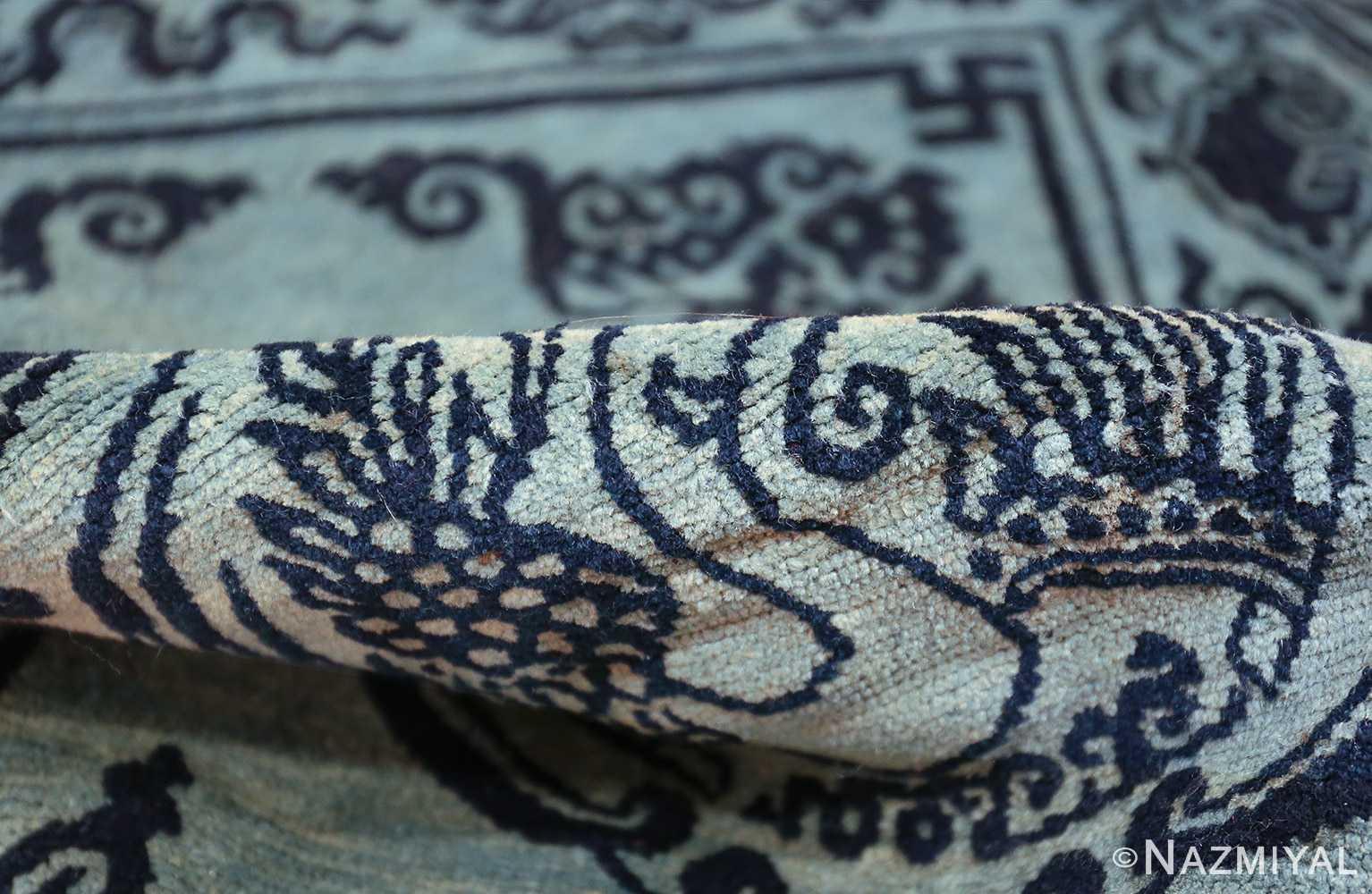 Antique Blue Background Tibetan Rug 49795 pile Nazmiyal