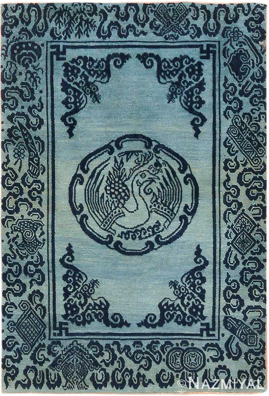 Antique Blue Background Small Tibetan Rug 49795 - Nazmiyal