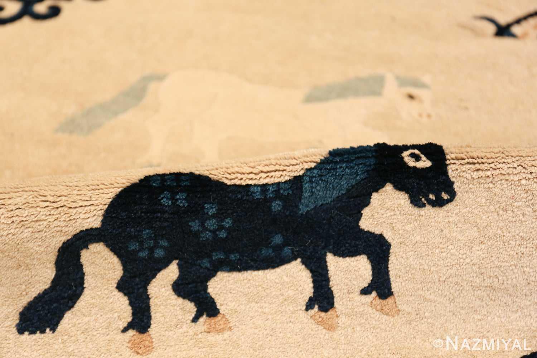 Antique Chinese Rug 49797 horse on pile Nazmiyal