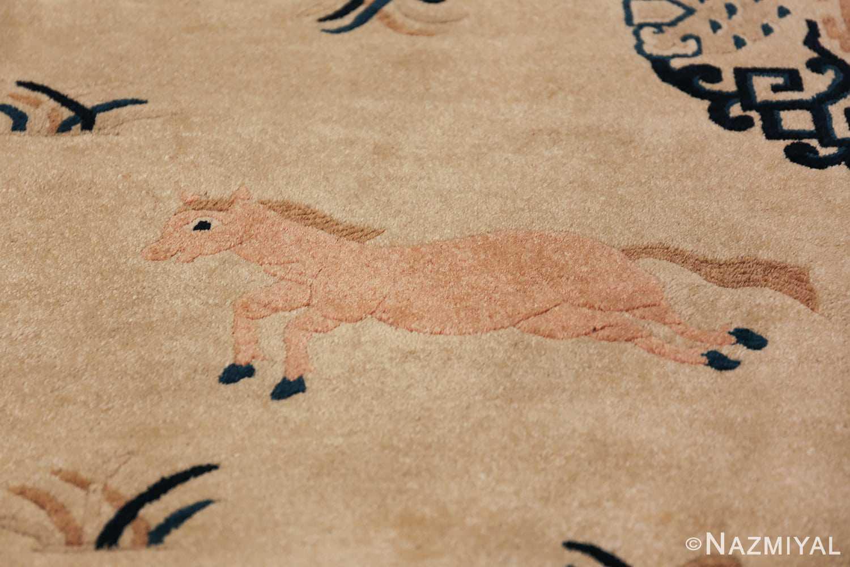Antique Chinese Rug 49797 jumping pink horse Nazmiyal