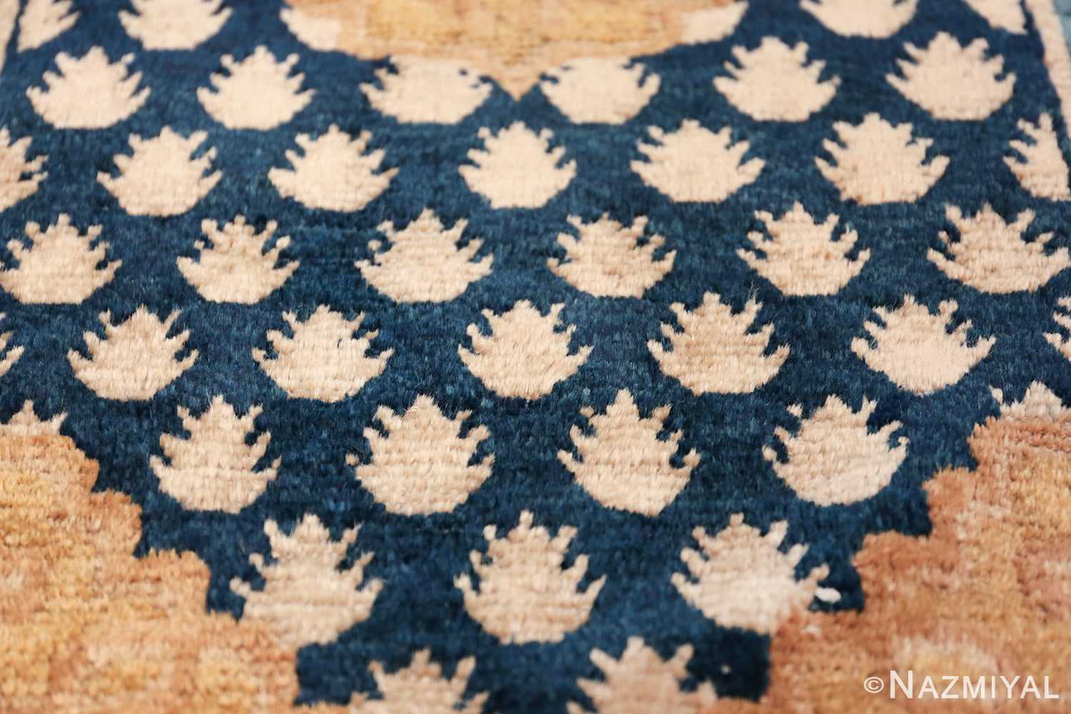 Antique Navy Background Chinese rug 49799 small pine trees Nazmiyal