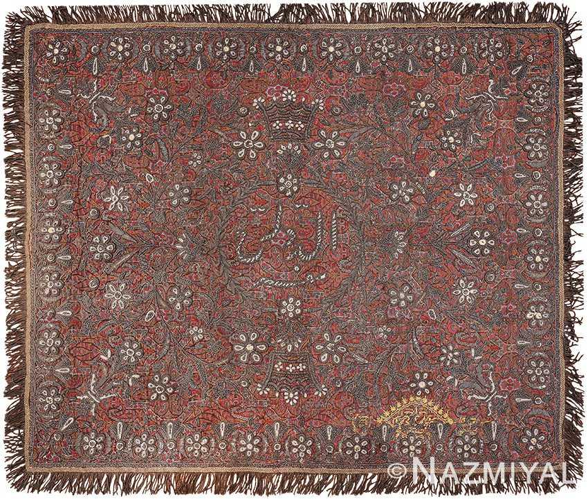 Pearl and Silver Antique Persian Kerman Embroidery 49779 - Nazmiyal