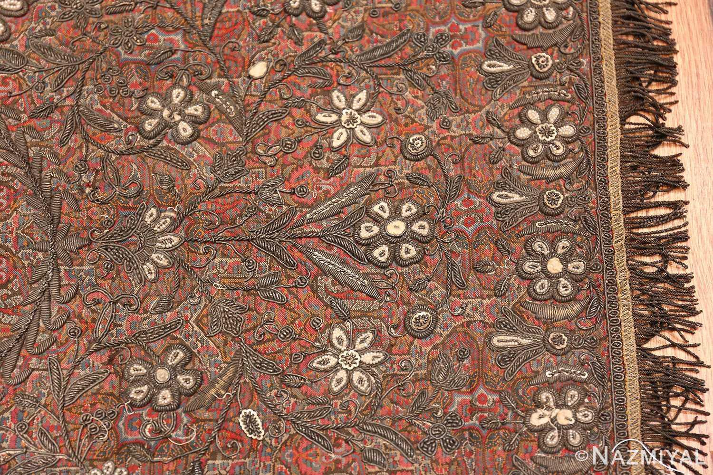 antique pearl and silver persian kerman embroidery 49779 border Nazmiyal