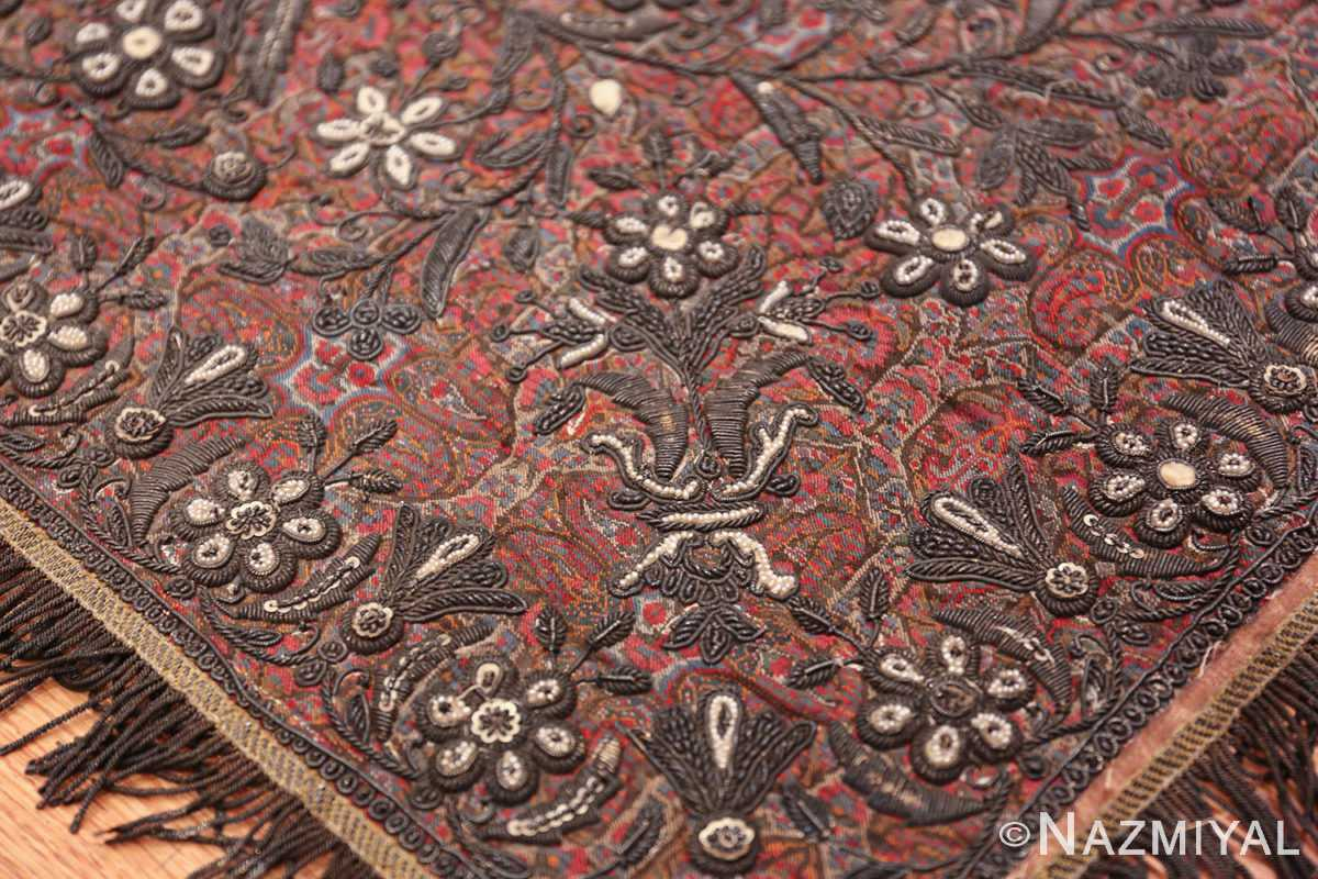 antique pearl and silver persian kerman embroidery 49779 flower Nazmiyal