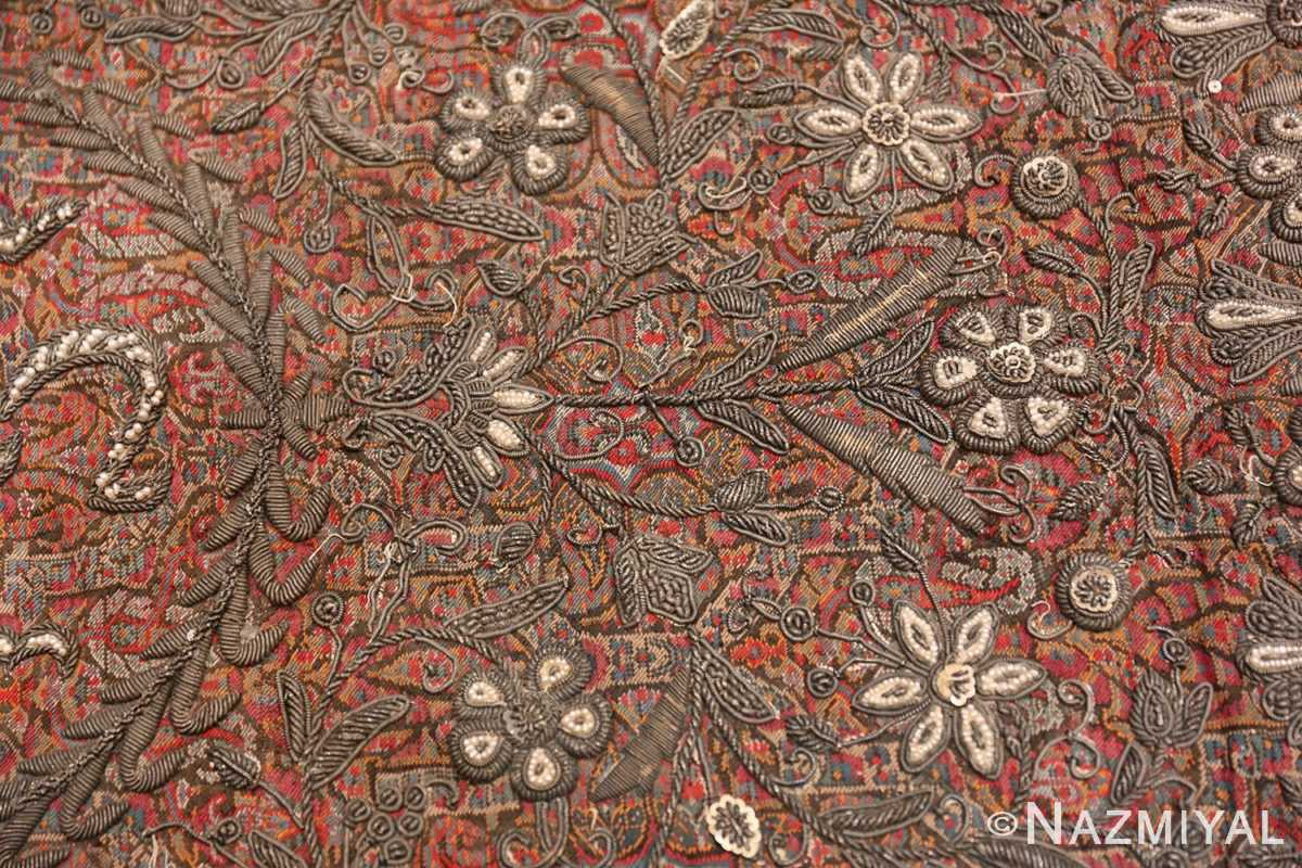 antique pearl and silver persian kerman embroidery 49779 leaves Nazmiyal