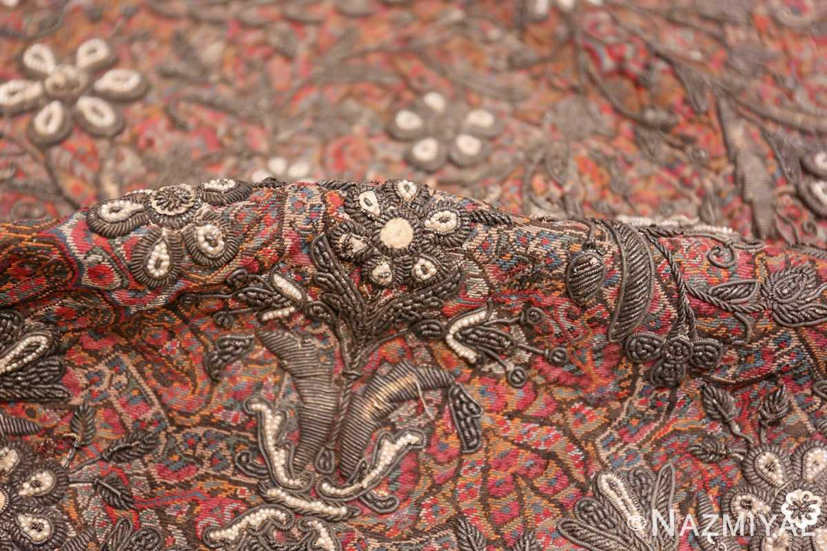 antique pearl and silver persian kerman embroidery 49779 pile Nazmiyal