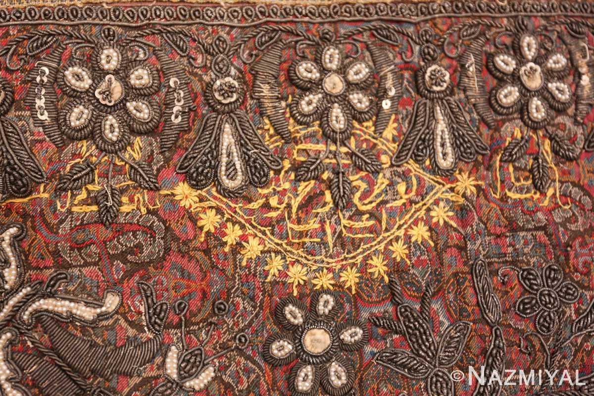 antique pearl and silver persian kerman embroidery 49779 writing Nazmiyal