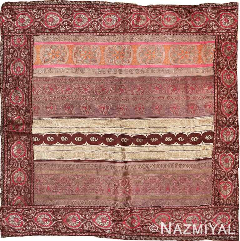 Antique Silk Persian Kerman Textile 49782 - Namziyal