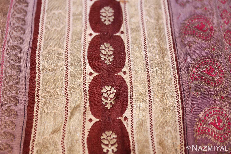 antique silk persian kerman textile 49782 brown Nazmiyal