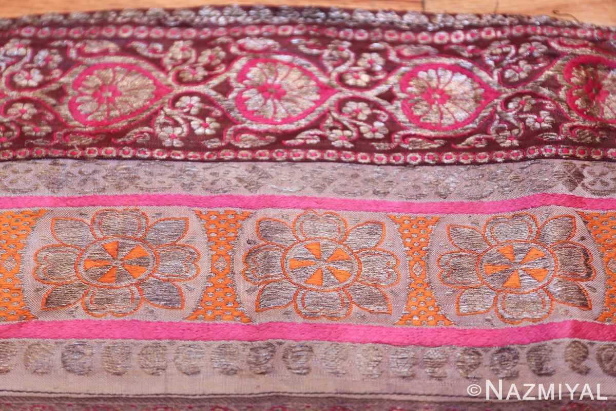 antique silk persian kerman textile 49782 orange Nazmiyal