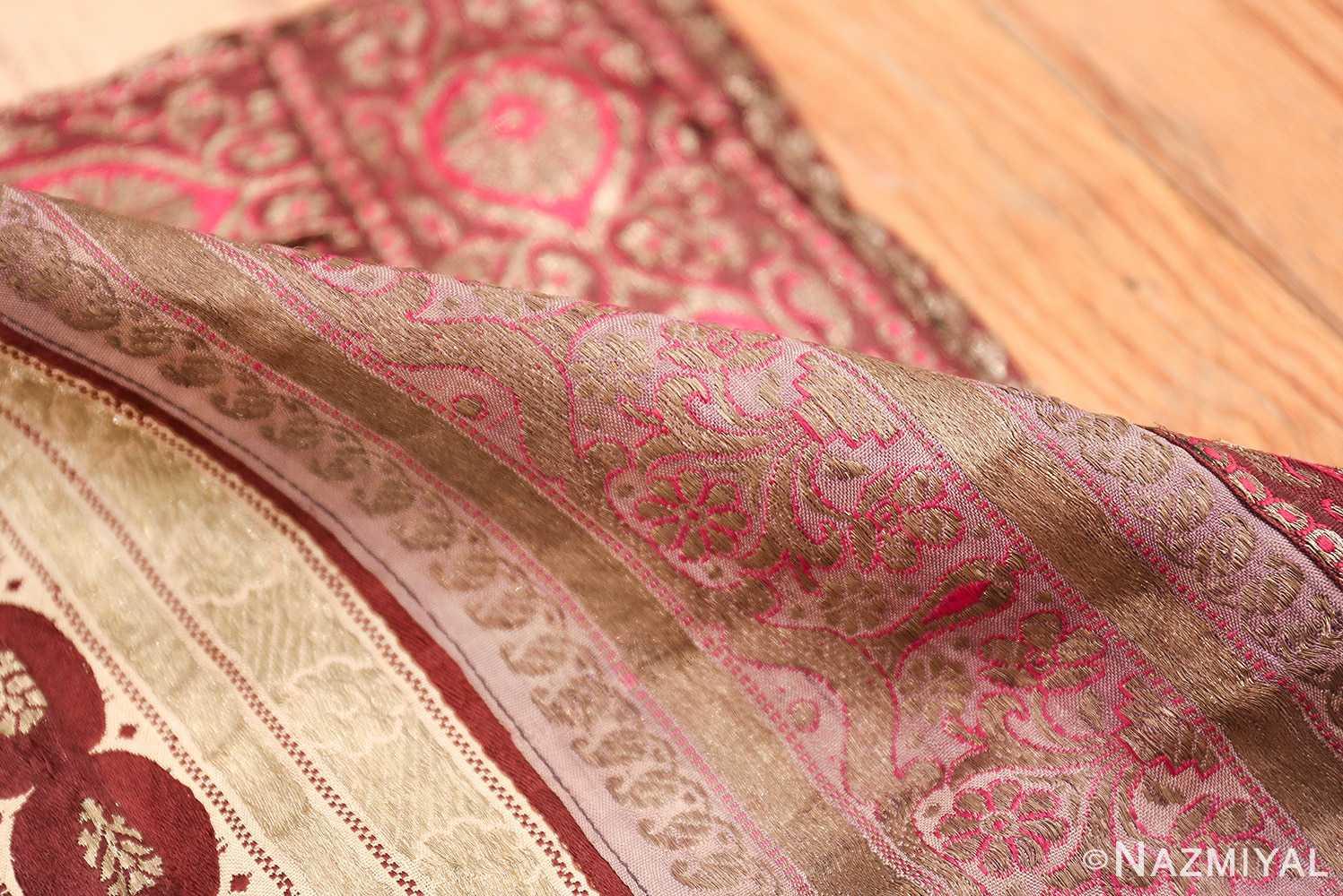 antique silk persian kerman textile 49782 pile Nazmiyal